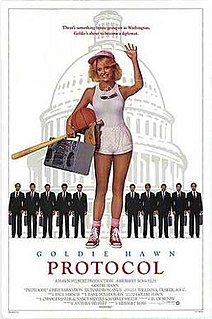 <i>Protocol</i> (film) 1984 comedy film that starred Goldie Hawn and Chris Sarandon. The screenplay was by Buck Henry and it was directed by Herbert Ross