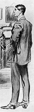 drawing of tall, slim young man of assured bearing, smartly dressed