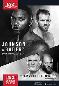 A poster or logo for UFC on Fox: Johnson vs. Bader.