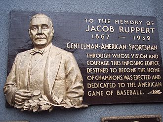 Jacob Ruppert - Ruppert's plaque in Monument Park