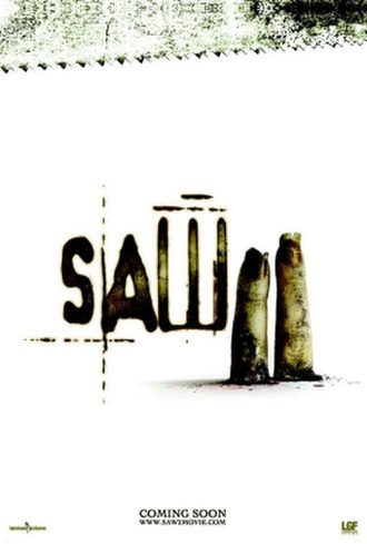 Saw II - The original teaser poster showing two bloody severed fingers that was banned by the Motion Picture Association of America.