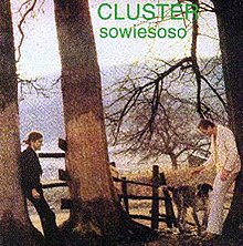 Album cover containing a shot of the two Cluster members leaning against trees