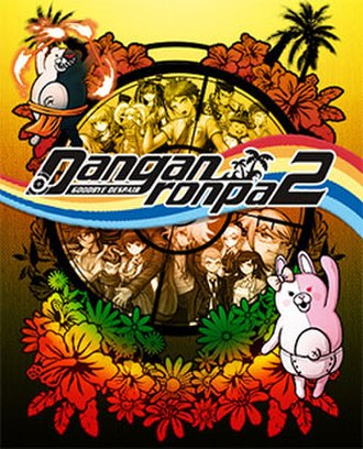 Danganronpa 2: Goodbye Despair - North American PlayStation Vita cover art featuring Monokuma (top center), Monomi (right), and the students of Hope's Peak Academy.