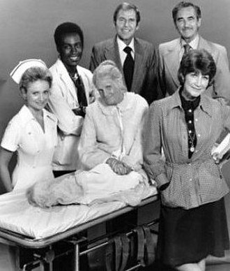 Temperatures Rising - The cast of the second season. Front row: Jennifer Darling, Sudie Bond, Barbara Cason; back row: Cleavon Little, Paul Lynde, Jeff Morrow