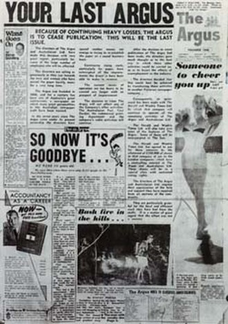 The Argus (Melbourne) - Image: The Argus' final issue