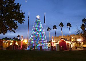 Chandler, Arizona - A.J. Chandler Park, located in downtown Chandler, contains a tumbleweed Christmas tree during the holidays.