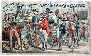 Chromolithography - Uncle Sam Supplying the World with Berry Brothers Hard Oil Finish, c. 1880. This cheaply produced chromolithographic advertisement employs a technique called stippling, with heavy reliance on the initial black line print.