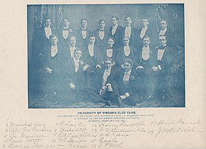 Virginia Glee Club - The Virginia Glee Club in 1893, including conductor Harrison Randolph and author of the Good Old Song E. A. Craighill. Courtesy, Special Collections, University of Virginia Library.