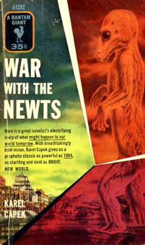 Czech science fiction and fantasy - Lurid 1955 US mass paperback cover of Karel Čapek's War with the Newts