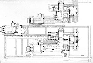 Wasmuth Portfolio - A plate from the Wasmuth Portfolio, depicting the floor plan of the Dana-Thomas House.