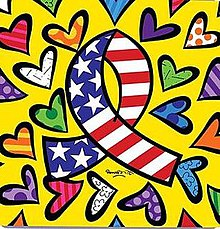 Amid different colored hearts and against a yellow background, an awareness ribbon with the colors of the United States flag is centered