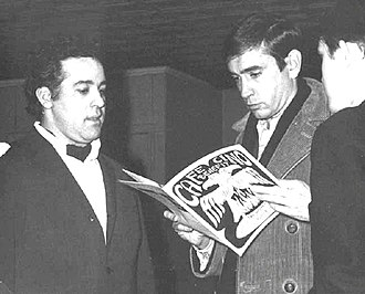 Joe Cino - Joe Cino (L.) and Edward Albee at a benefit for the Caffe Cino after a fire, 1965, Photo: James D. Gossage.