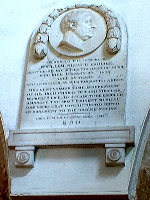 William Shield - William Shield Memorial Tablet, St Thomas à Beckett Church, Brightling, Sussex