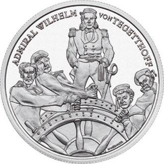 Wilhelm von Tegetthoff - S.M.S. ''Erzherzog Ferdinand Max'' coin featuring Rear-Admiral Wilhelm von Tegetthoff.