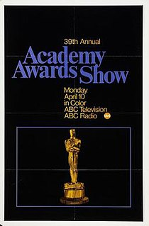 39th Academy Awards Award ceremony for films of 1966