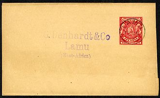 Postage stamps and postal history of British East Africa - British East Africa 1 anna newspaper wrapper postmarked LAMU 26 Feb 1897, used locally
