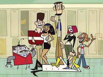 "Clone High - The main characters of Clone High: Mr. Butlertron, John F. Kennedy, Cleopatra, Abe Lincoln, Joan of Arc, Gandhi and ""Cinnamon"" J. Scudworth (reclining)."