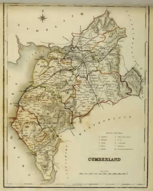 Cumberland - Map of Cumberland in 1845 showing poor law unions and parliamentary divisions