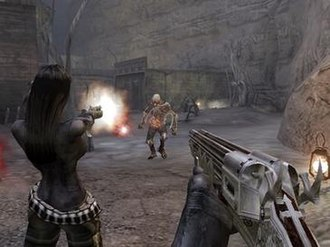 Darkwatch - A screenshot of first-person shooter gameplay in Darkwatch, without the HUD