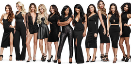 Promotional photosession featuring the women of the show dressed in black