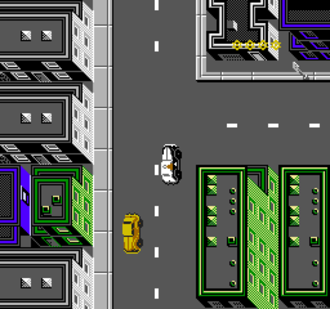 Dick Tracy (video game) - Dick Tracy patrolling the city (NES version)