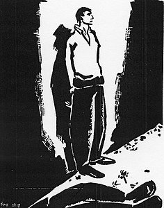 A black-and-white illustration of a man standaing against a wall, his hands bound behind his back