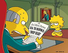 Mr burns is outraged by the headline of lisa s newspaper in the