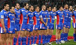 France national rugby league team - The French team lining up before their match against New Zealand in the 2009 Four Nations tournament.