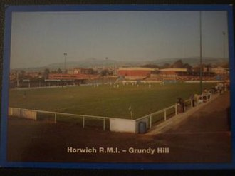 Leigh Genesis F.C. - Postcard of Grundy Hill, RMI's ground in Horwich