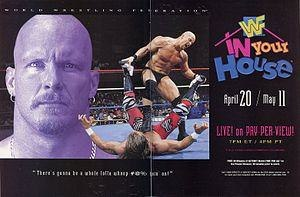 In Your House 15: A Cold Day in Hell - Promotional poster featuring Stone Cold Steve Austin and Shawn Michaels