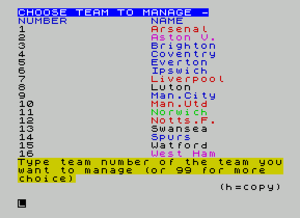 Football Manager (1982 series) - Text based screen on the ZX Spectrum
