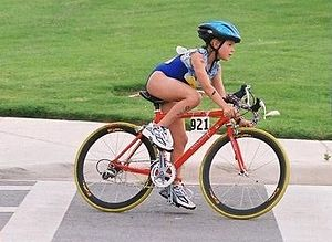 The bike portion of an IronKids triathlon is h...