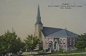 Durham, Ontario - Knox United Church and the Durham Library