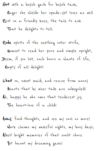 Gertrude Chataway - Lewis Carroll wrote this unique double acrostic for Gertrude Chataway. The verses embody her name in two ways — by letters, and by syllables. This is the only double acrostic of its kind.