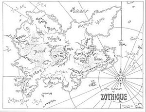 Zothique - Map drawn by Tim Kirk.