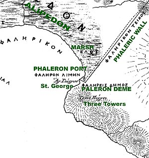 Palaio Faliro - Map of Phaleron, 1843, showing the sites of the ancient deme and the ancient walls, as well as contemporary features