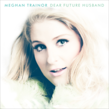 "The name Meghan Trainor is written in bold print at top left, the title ""Dear Future Husband"" stands beside it. A woman with blue eyes and blonde hair wearing a coat looks towards the camera below the text."