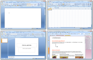 Microsoft Office 2007 applications shown on Windows 10 (clockwise from top left: Excel, Word, OneNote, PowerPoint; these four programs make up the Home and Student Edition)