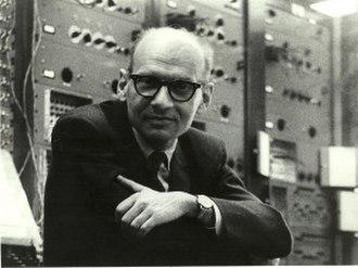 Milton Babbitt - Milton Babbitt with the RCA Mark II synthesizer