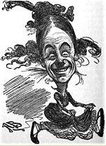 Cartoon style drawing of a man in woman's clothing smiling broadly at the viewer