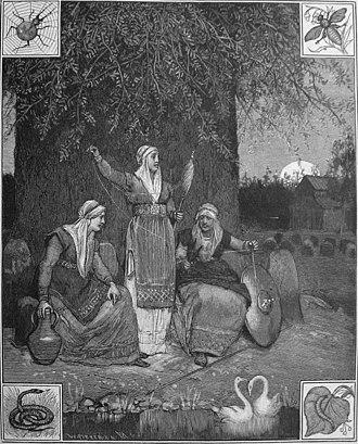 Urðarbrunnr - The trio of norns at the well Urðarbrunnr as depicted in Fredrik Sander's 1893 translation of the Poetic Edda. Wood engraving by L. B. Hansen.