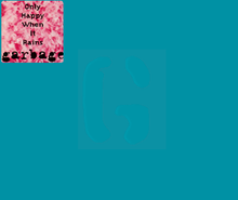 "A stylized G on a blue background. On the upper left corner is a pink square with a fluffy texture, and the text ""Only Happy When It Rains - Garbage"" in black letters."
