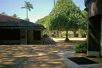 Punahou School - Chapel courtyard and Round House