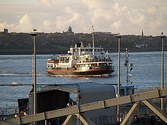 Mersey Ferry - Snowdrop turning for the Pier Head, Liverpool, with Wallasey in the background