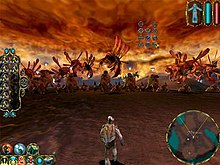 A humanoid stands in the foreground, facing away. Various creatures, large and small, are arrayed in front of him in a line. The scenary is tinged in red, including the clouds swirling above. Various icons and gauges line the left and right of the screen.