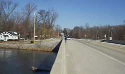 Looking north into Shelby from the State Road 55 bridge across the Kankakee River, March 2007