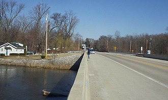 Shelby, Indiana - Looking north into Shelby from the State Road 55 bridge across the Kankakee River, March 2007