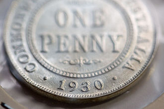 Penny (Australian coin) - A silver reproduction of the rare Australian 1930 penny