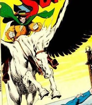 Terra-Man - The original Pre-Crisis Terra-Man riding his flying horse. Art by Neal Adams.