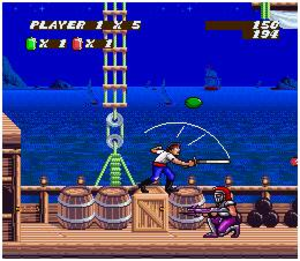 Sküljagger: Revolt of the Westicans - The player is about to confront one of the minor enemies in the game; an armored soldier with a rifle.
